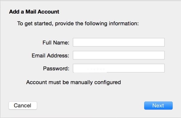 add mail account manually