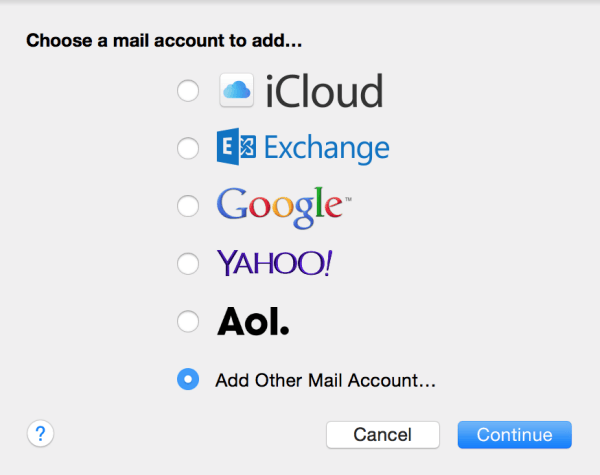 choose mail account type
